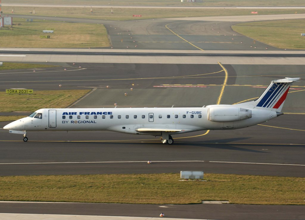 Air France Regional, F-GUBE, Embraer ERJ-145 MP, 04.03.2011, DUS-EDDL, Düsseldorf, Germany