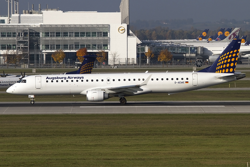 Lufthansa - Augsburg Airways, D-AEMC, Embraer, EMB-195LR, 25.10.2012, MUC, München, Germany