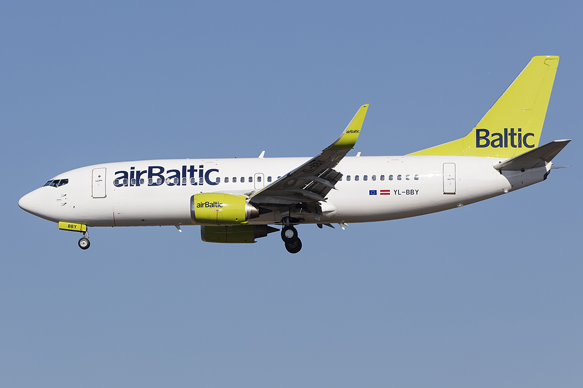 Air Baltic, YL-BBY, Boeing, B737-36Q, 14.10.2018, FRA, Frankfurt, Germany