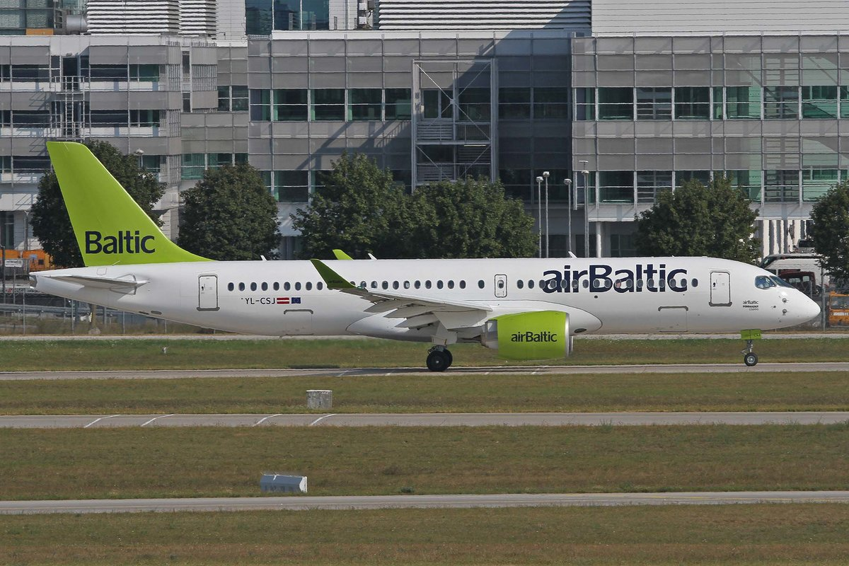 Air Baltic, YL-CSJ, Airbus (Bombardier), A 220-300 (CS-300), MUC-EDDM, München, 20.08.2018, Germany