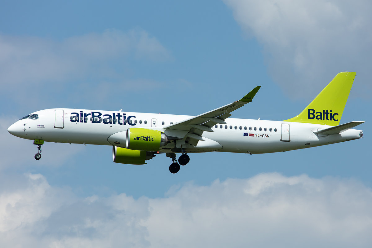 Air Baltic, YL-CSN, Airbus, A220-300, 02.05.2019, MUC, München, Germany