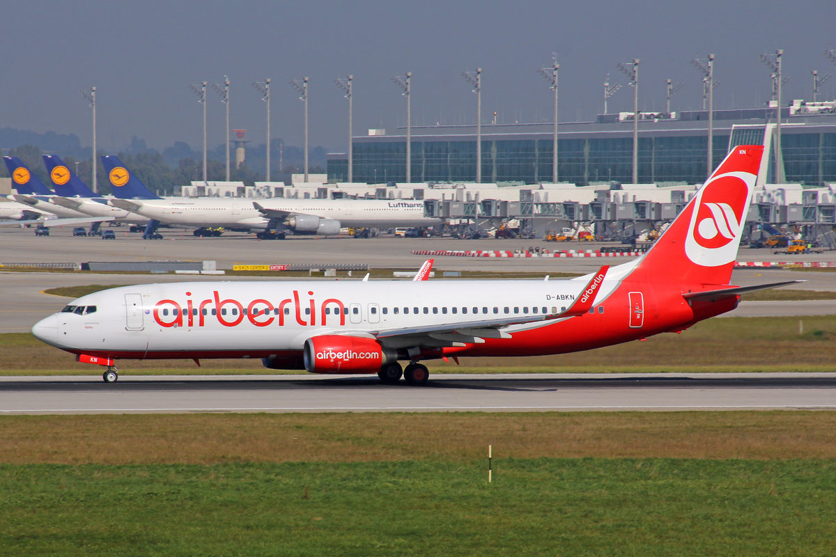 Air Berlin, D-ABKN, Boeing 737-86J, 25.September 2016, MUC München, Germany.