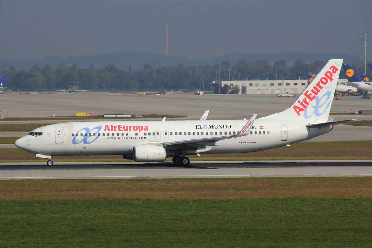 Air Europa, EC-JBL, Boeing 737-85P, 25.September 2016, MUC München, Germany.