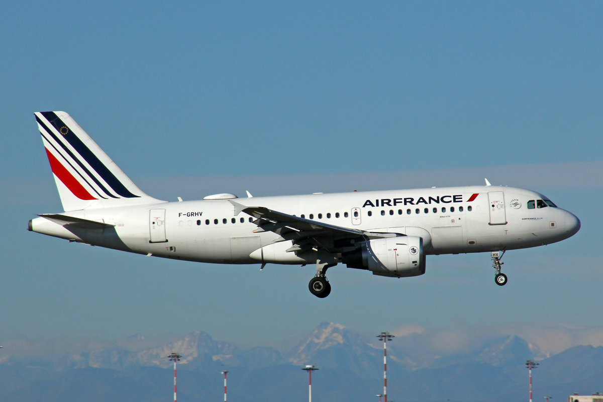 Air France, F-GRHV, Airbus A319-111, msn: 1505, 28.September 2020, MXP Milano-Malpensa, Italy.