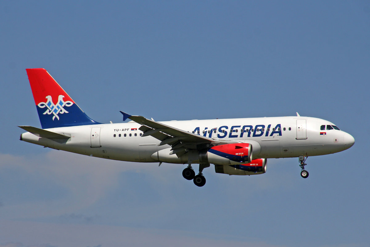 Air Serbia, YU-APF, Airbus A319-131, msn: 3317, 01.August 2019, ZRH Zürich, Switzerland.