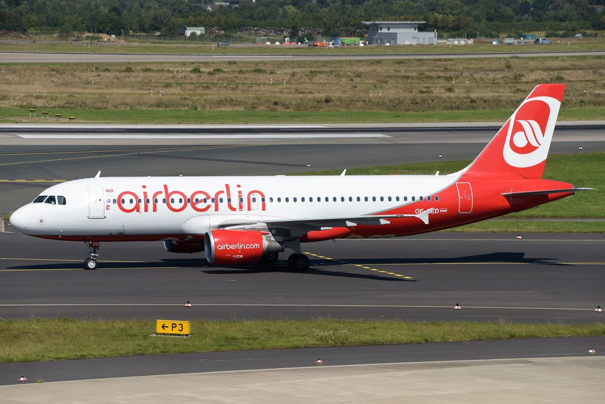 Airbus A320-214 - HG NLY Niki opfor Air Berlin 'AB colours' - 4606 - OE-LED - 17.08.2016 - DUS