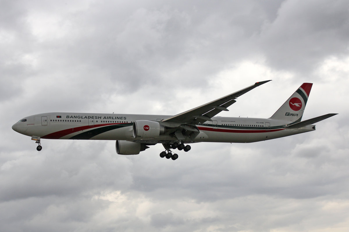 Biman Bagladesh Airlines, S2-AHM, Boeing 777-3E9ER, 01.Juli 2016, LHR London Heathrow, United Kingdom.