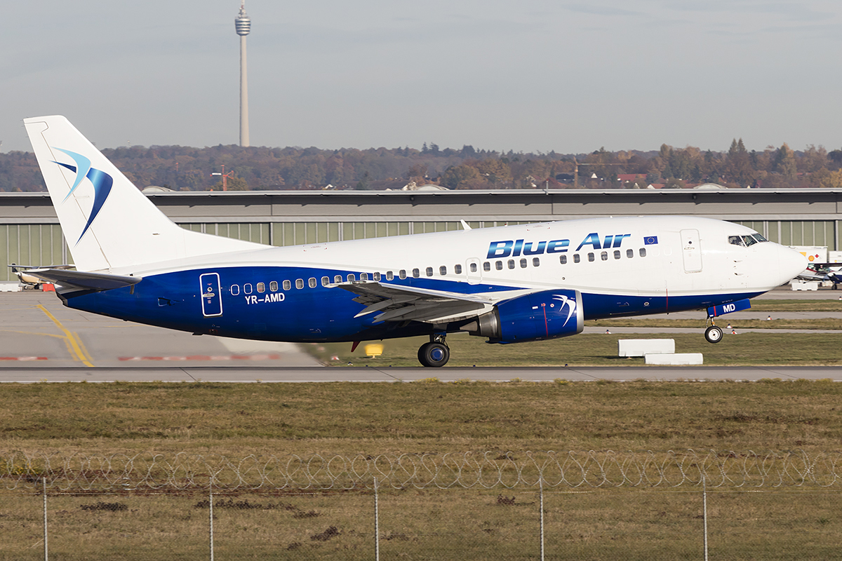 Blue Air, YR-AMD, Boeing, B737-530, 06.11.2018, STR, Stuttgart, Germany