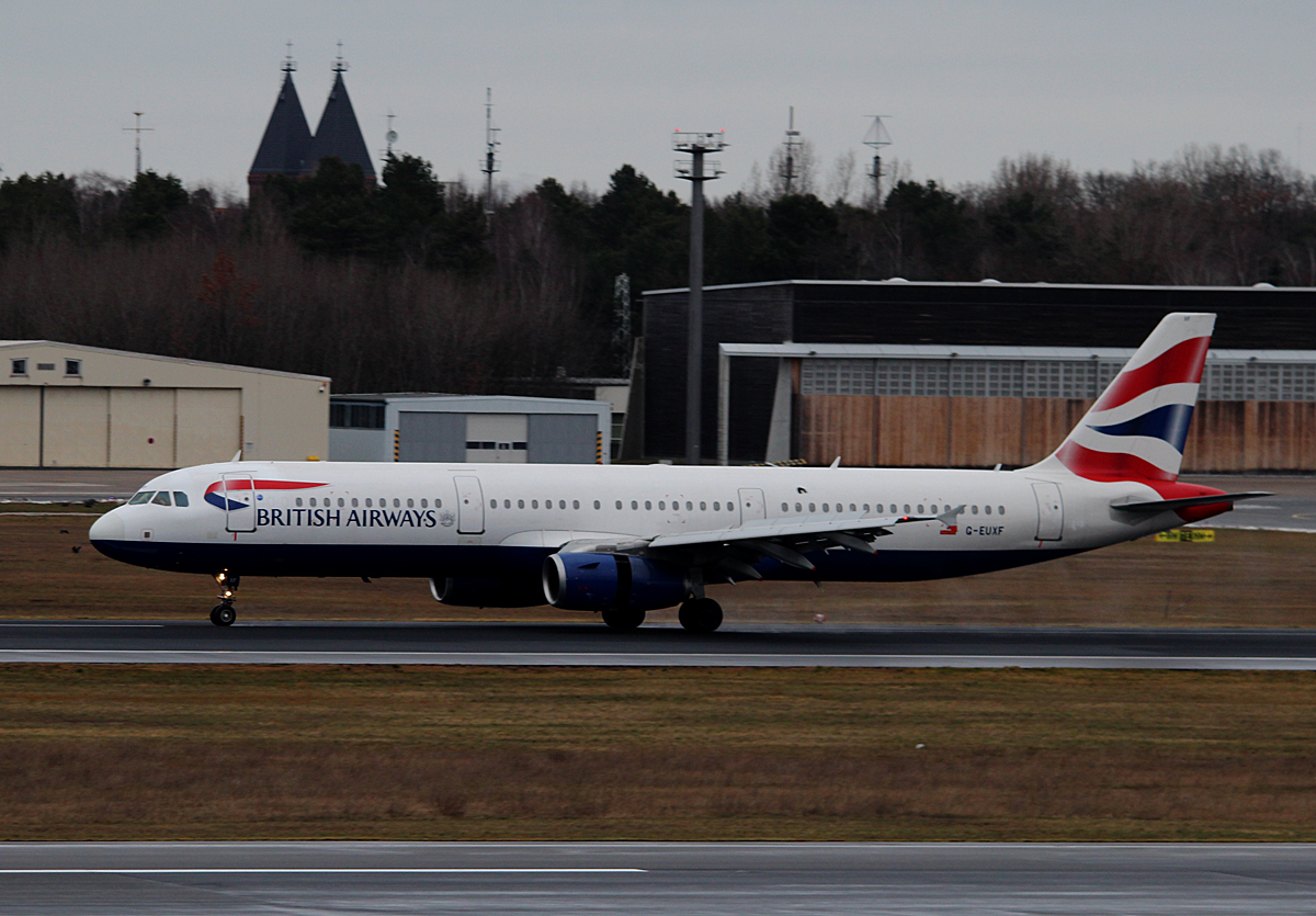 British Airways A 321-231 G-EUXF nach der Landung in Berlin-Tegel am 09.02.2015
