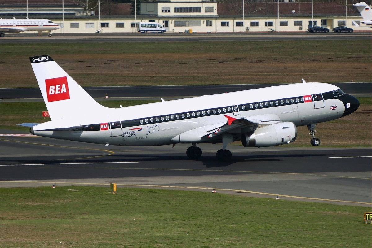 British Airways, Airbus A 319-131, G-EUPJ, '100 Years birthday'- BEA Retro livery. Berlin- Tegel (TXL) am 04.04.2019.