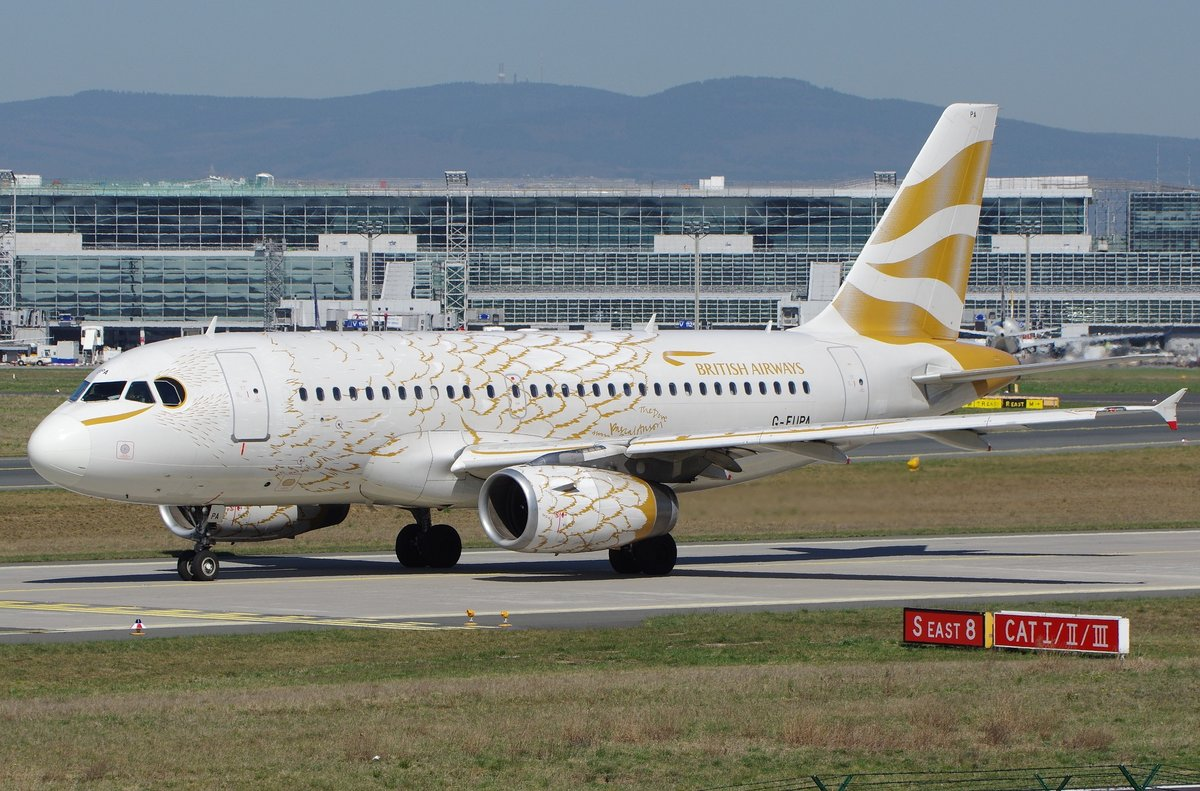 British Airways  Airbus A319, Olympic Dove-Livery, G-EUPA, 15.04.2015 Fankfurt