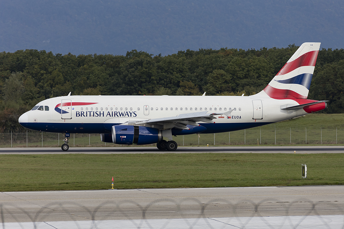 British Airways, G-EUOA, Airbus, A319-131, 24.09.2017, GVA, Geneve, Switzerland