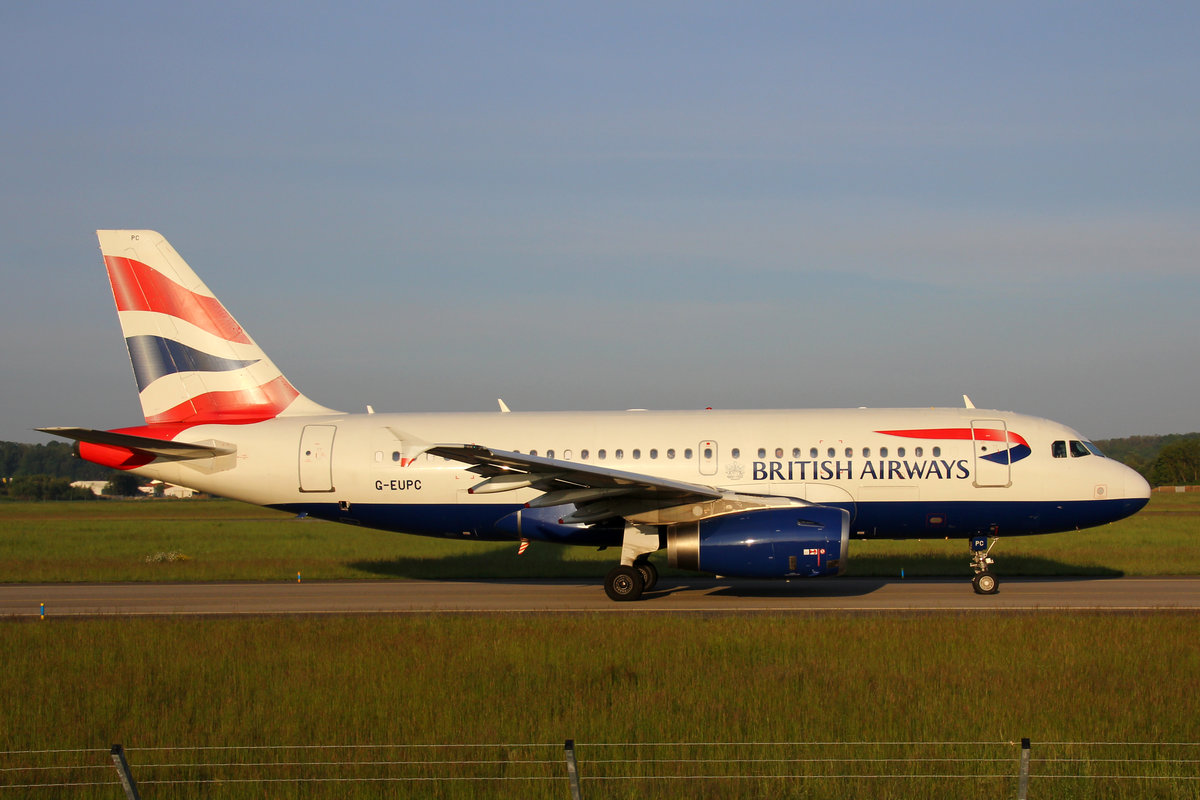 British Airways, G-EUPC, Airbus A319-131, 18.Mai 2016, BSL Basel, Switzerland.