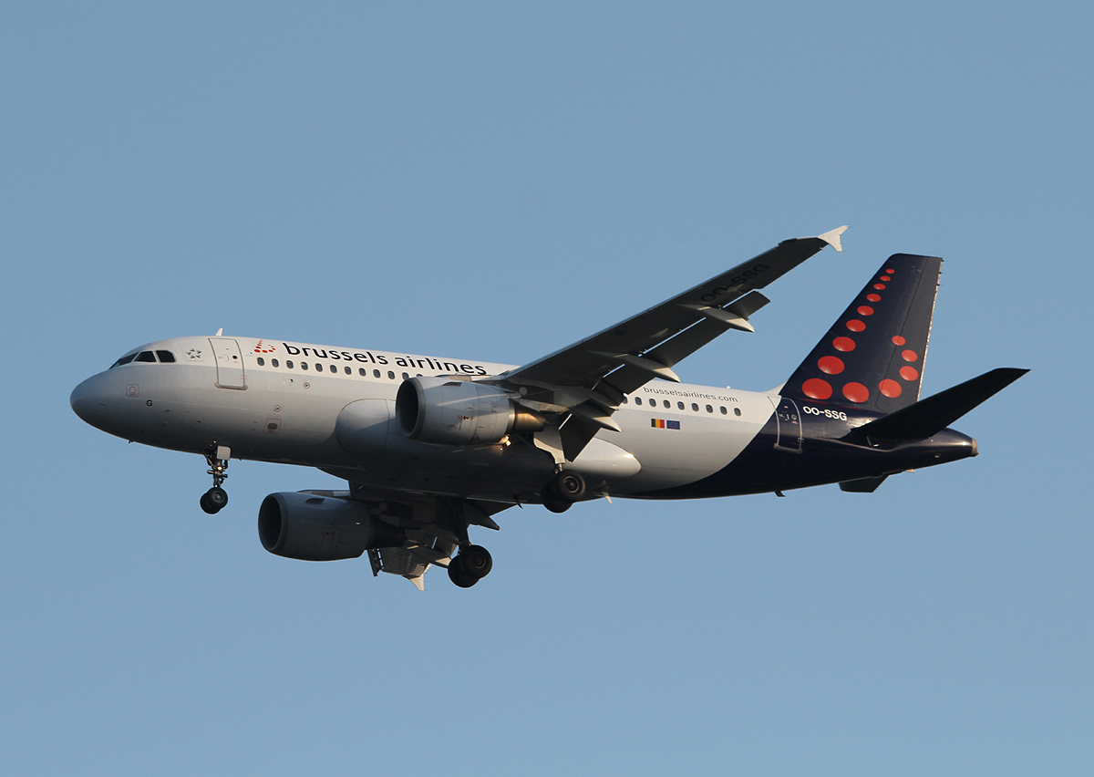 Brussels Airlines A 319-112 OO-SSG bei der Landung in Berlin-Tegel am 18.06.2013
