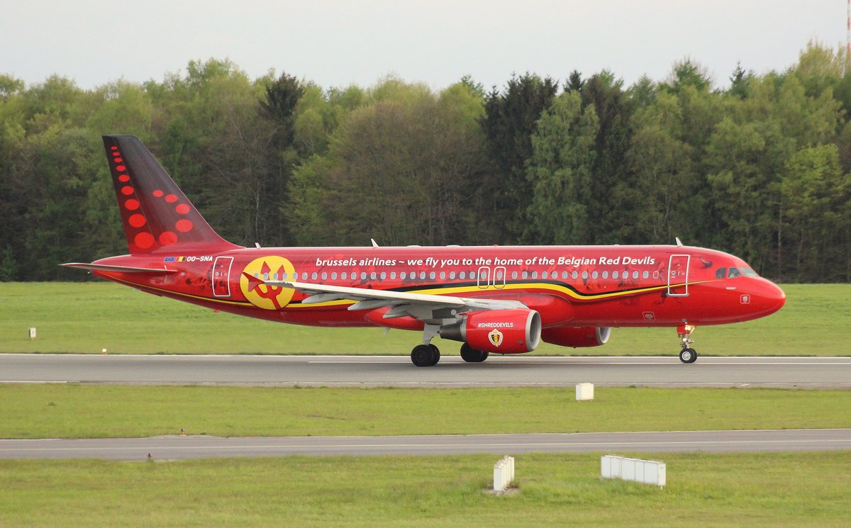 Brussels Airlines, OO-SNA, MSN 1441, Airbus A 320-214, 09.05.2017, HAM-EDDH, Hamburg, Germany (Belgian Red Devils livery)