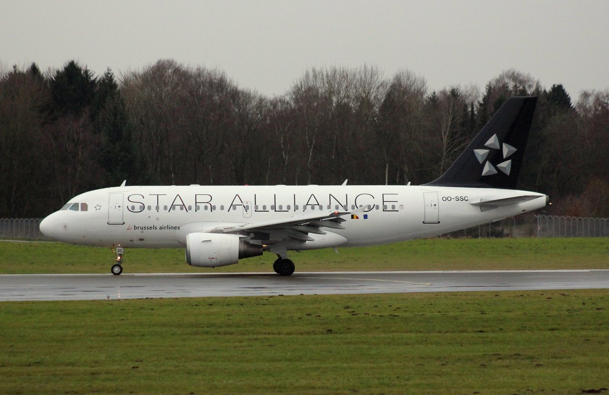 Brussels Airlines, OO-SSC, MSN 1086, Airbus A 319-112,30.12.2017, HAM-EDDH, Hamburg, Germany (Star Alliance livery)