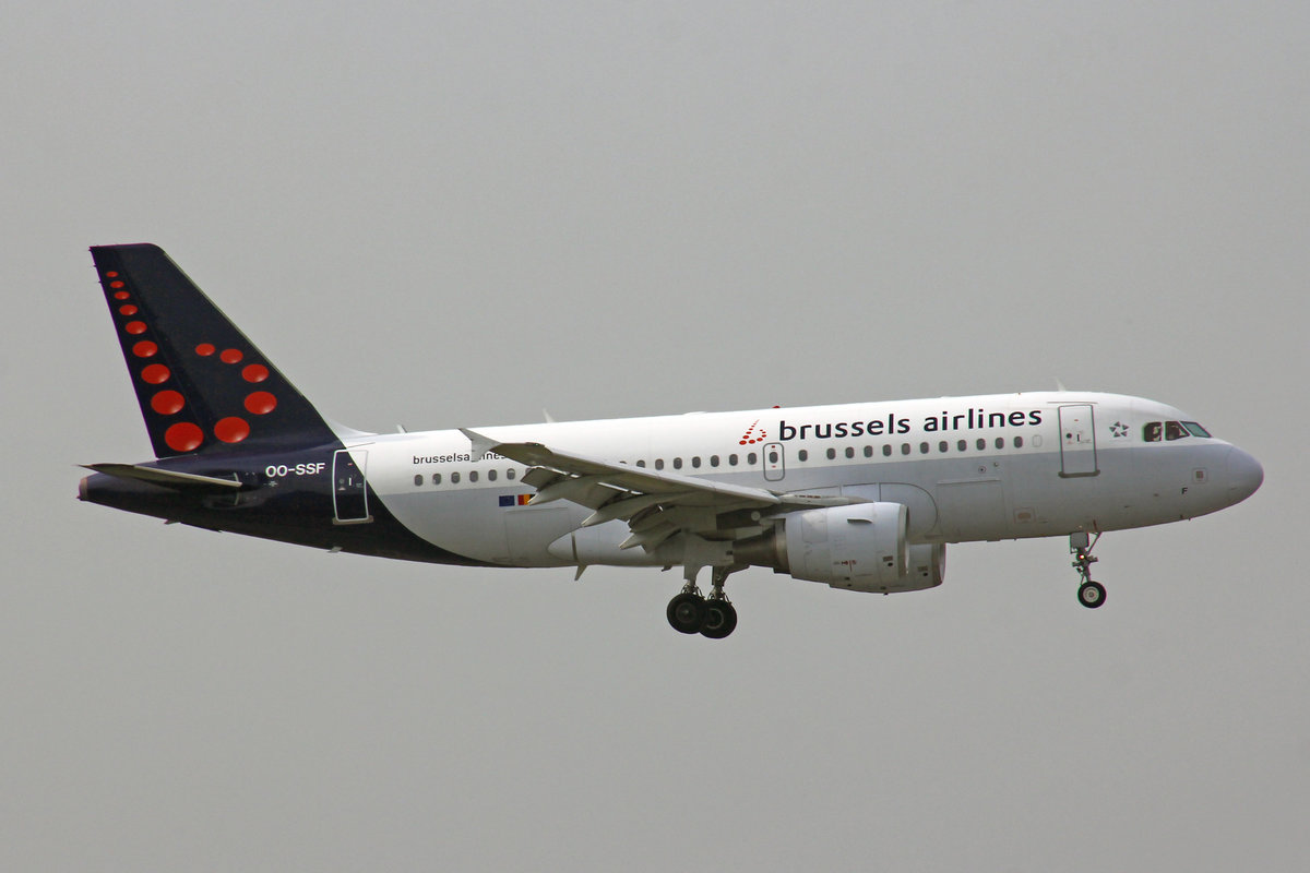 Brussels Airlines, OO-SSF, Airbus A319-111, man: 2763, 15.Oktober 2018, MXP Milano-Malpensa, Italy.