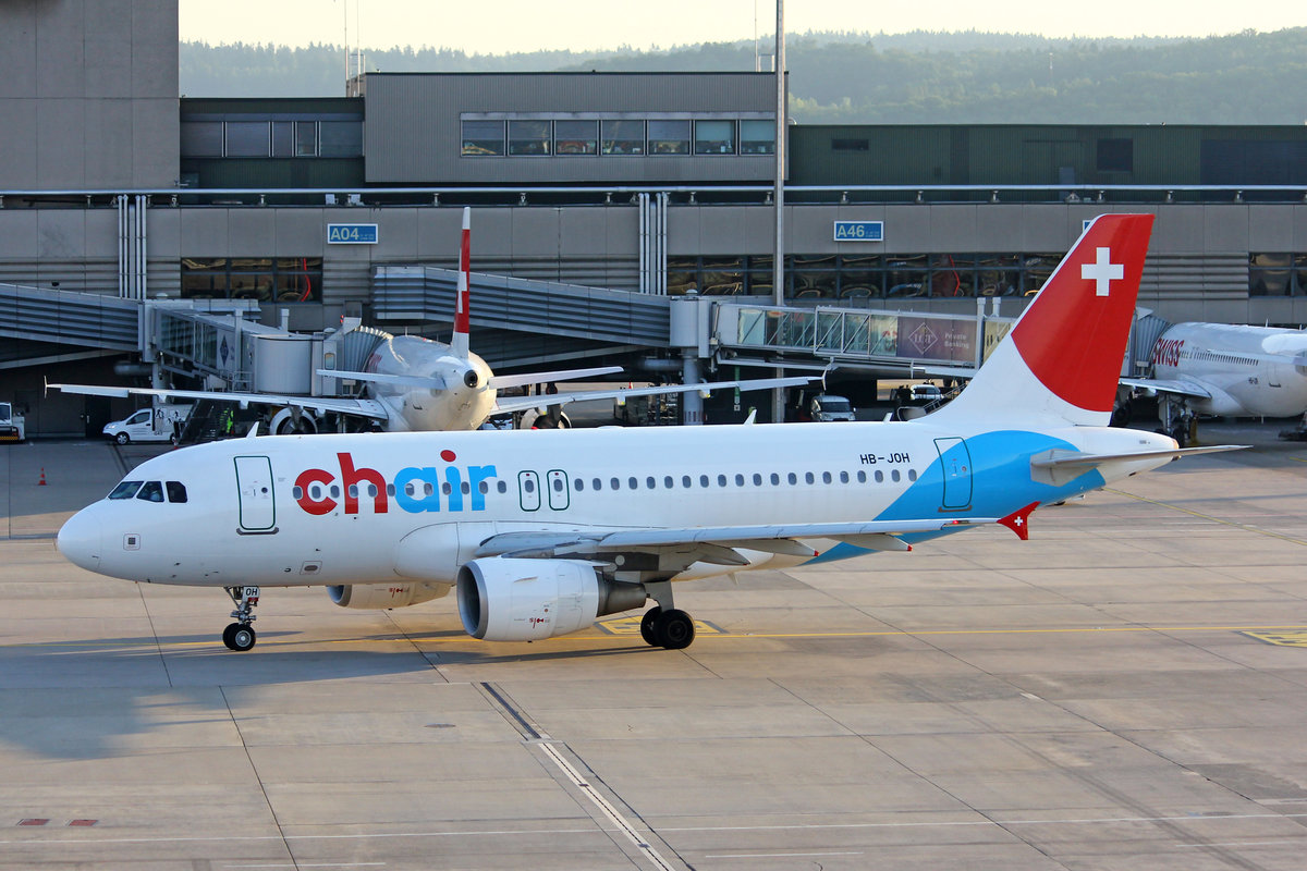 Chair Airlines, HB-JOH, Airbus A319-112, msn: 3589, 06.Juli 2019, ZRH Zürich, Switzerland.