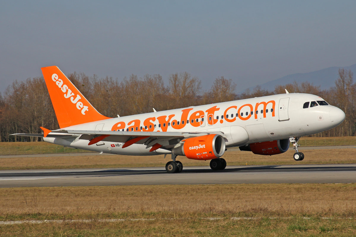 easyJet Switzerland, HB-JYM, Airbus A319-111, msn: 4667, 14.März 2017, BSL Basel, Switzerland.