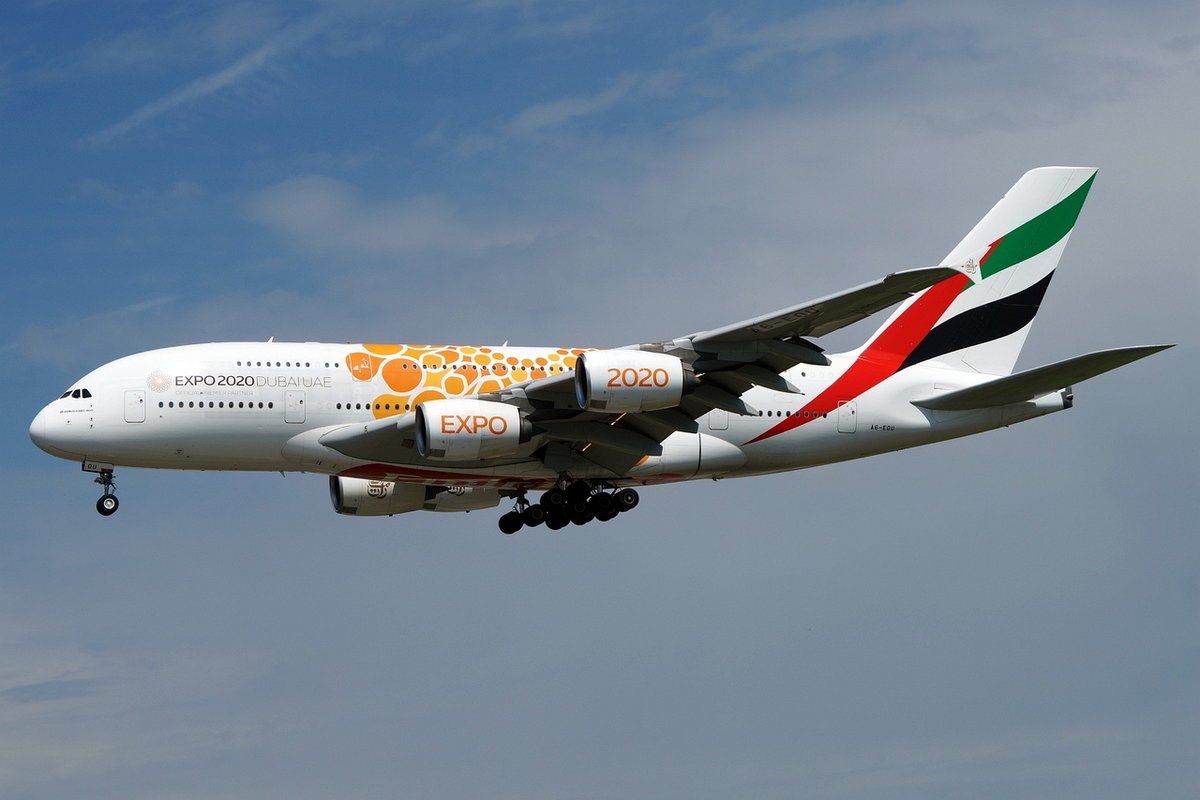 Emirates, Airbus A380-861 A6-EOU, cn(MSN): 205,  Expo 2020 Orange , 