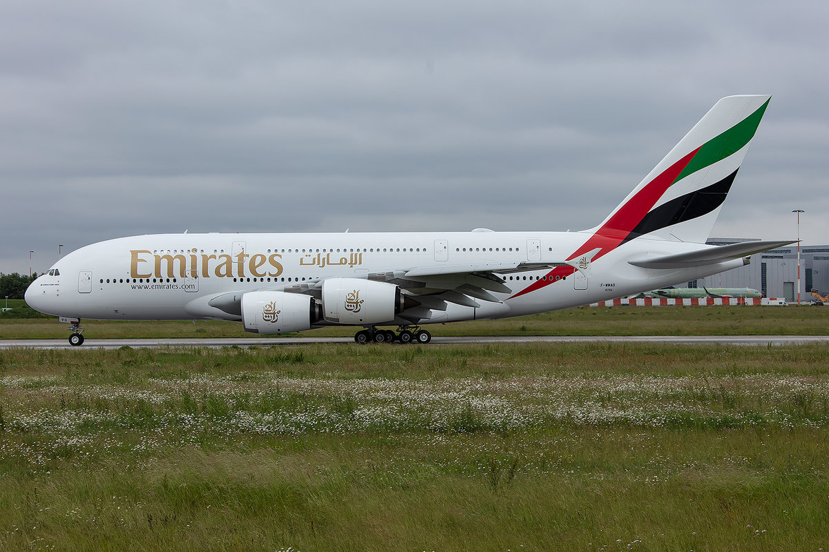 Emirates, F-WWAD, (later Reg.: A6-EVG), Airbus, A380-842, 12.06.2019, XFW, Hamburg-Finkenwerder, Germany