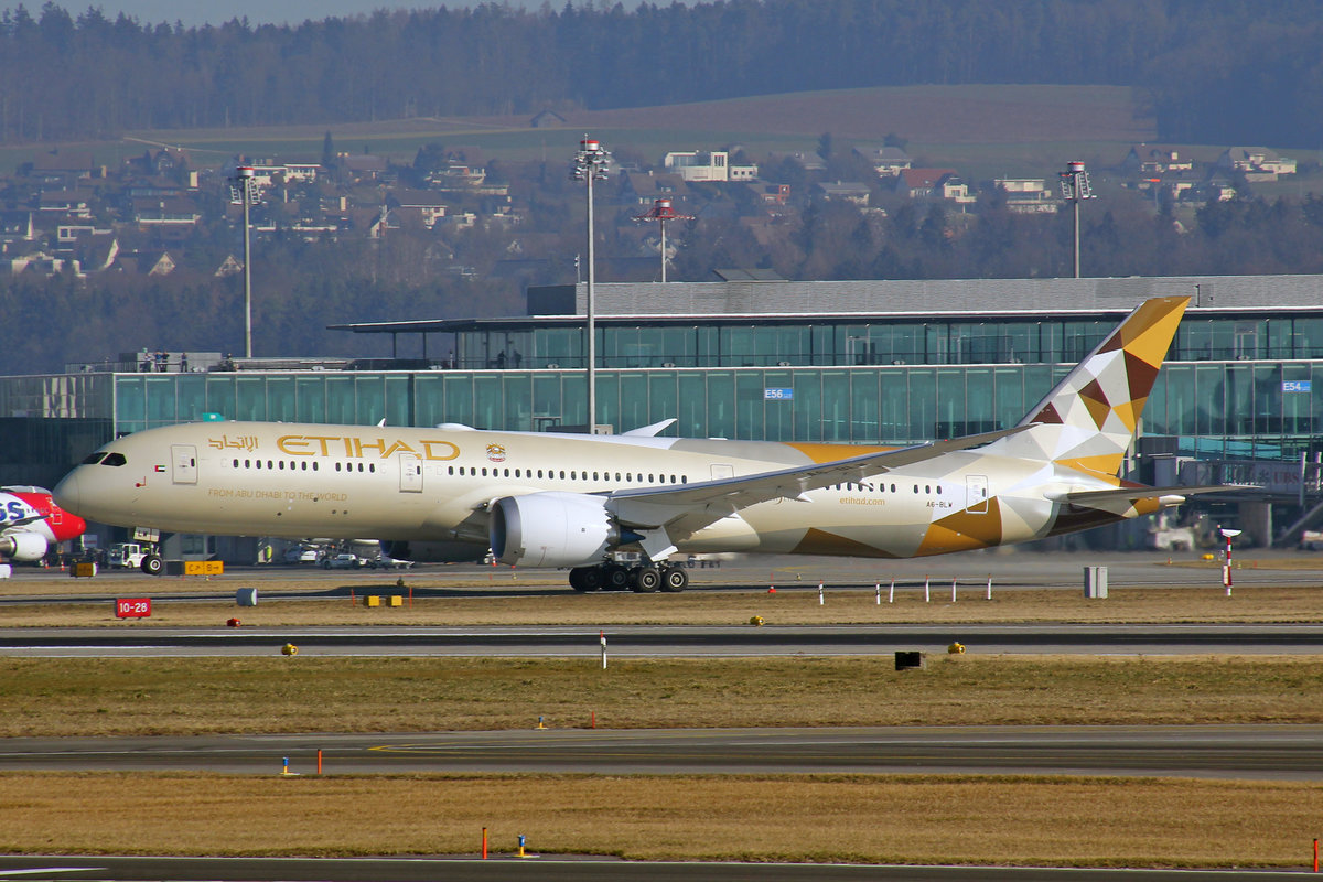Etihad Airways, A6-BLW, Boeing 787-9, msn: 39666/793, 27.Februar 2019, ZRH Zürich, Switzerland.