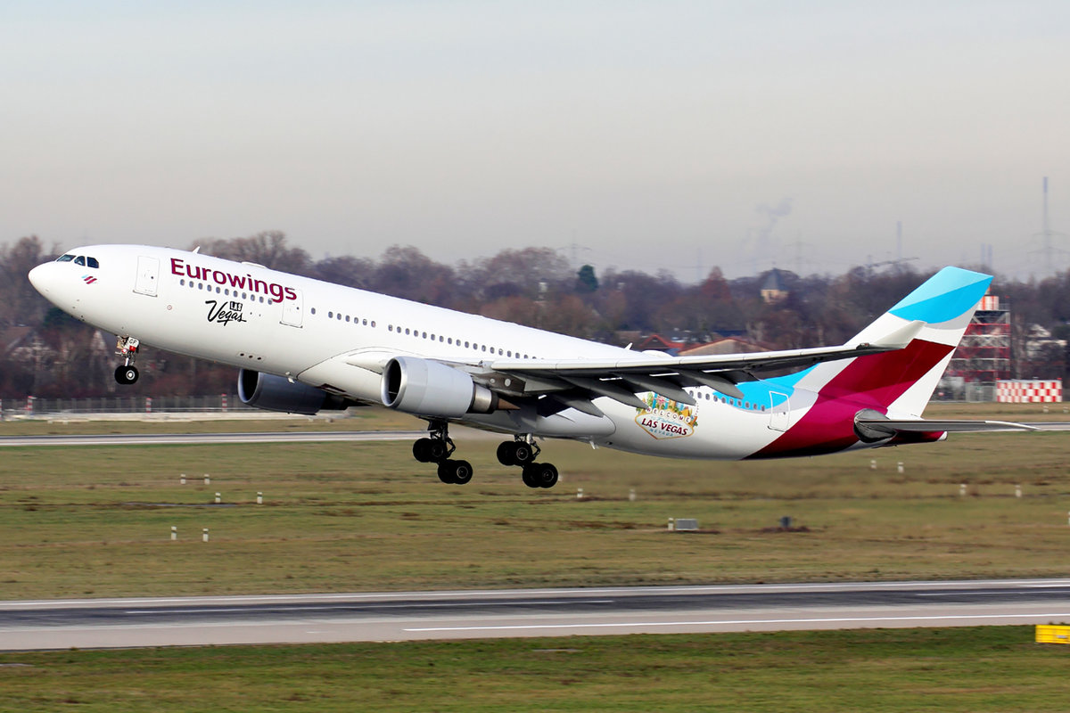 Eurowings Airbus A330-203 D-AXGF beim Start in Düsseldorf 27.12.2018