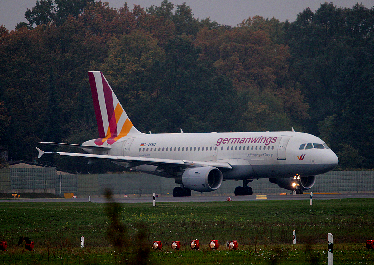 Germanwings A 319-112 D-AKNQ kurz vor dem Start in Berlin-Tegel am 26.10.2014