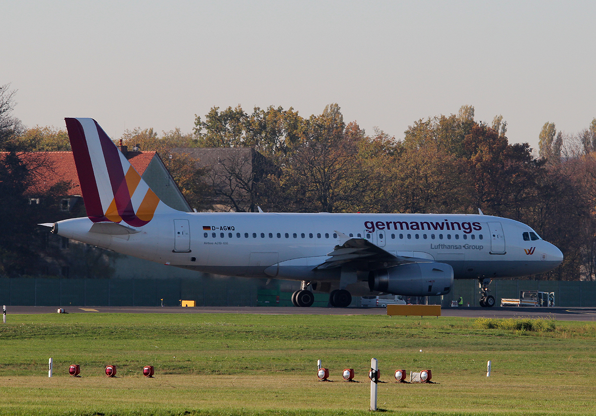 Germanwings A 319-132 D-AGWQ kurz vor dem Start in Berlin-Tegel am 31.10.2013