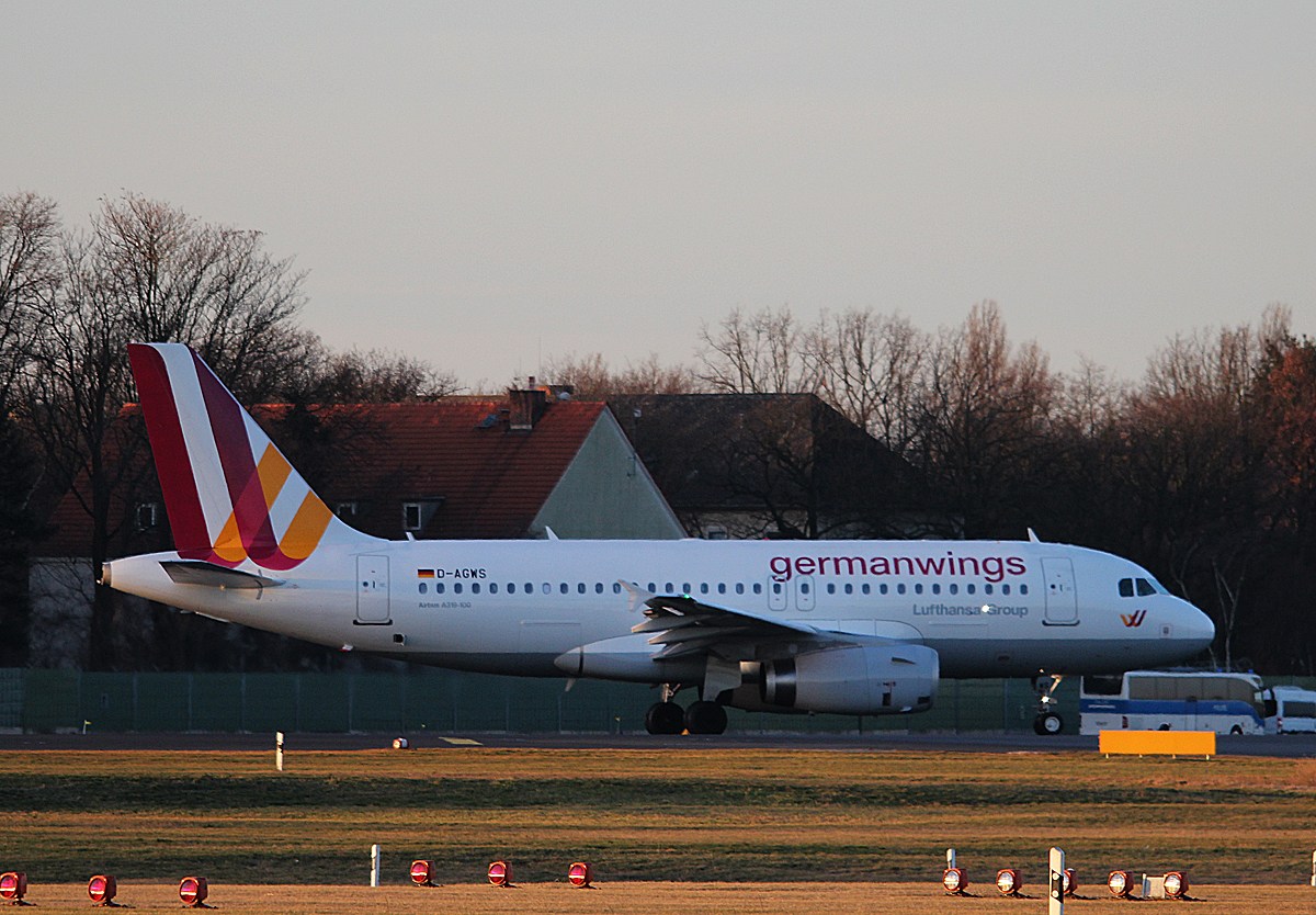 Germanwings A 319-132 D-AGWS kurz vor dem Start in Berlin-Tegel am 08.02.2014