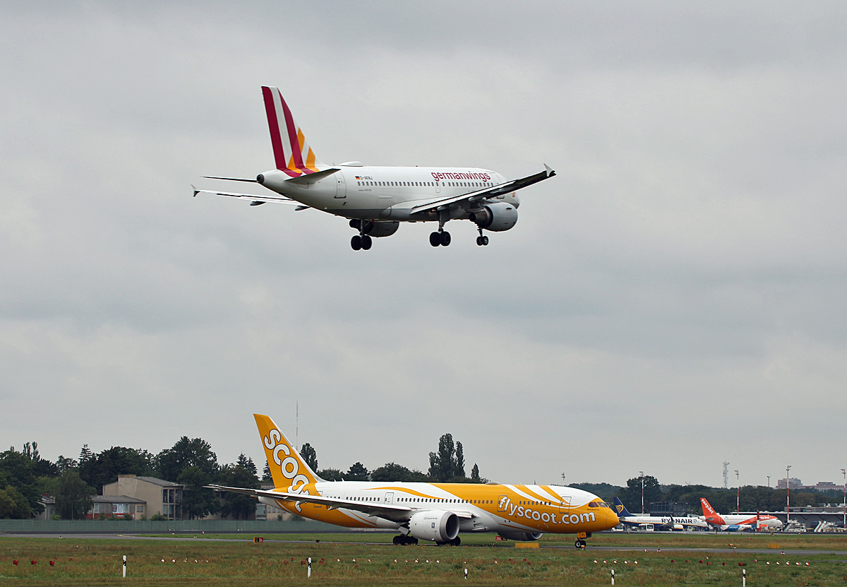Germanwings, Airbus A 319-112, D-AKNJ, SCOOT, Boeing B 787-8 Dreamliner, 9V-OFI, TXL, 04.08.2019