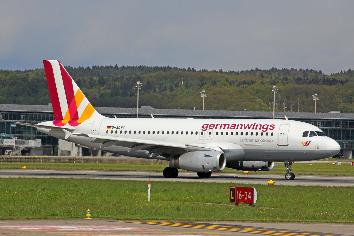 Germanwings, D-AGWG, Airbus A319-132, 28.April 2016, ZRH Zürich, Switzerland.