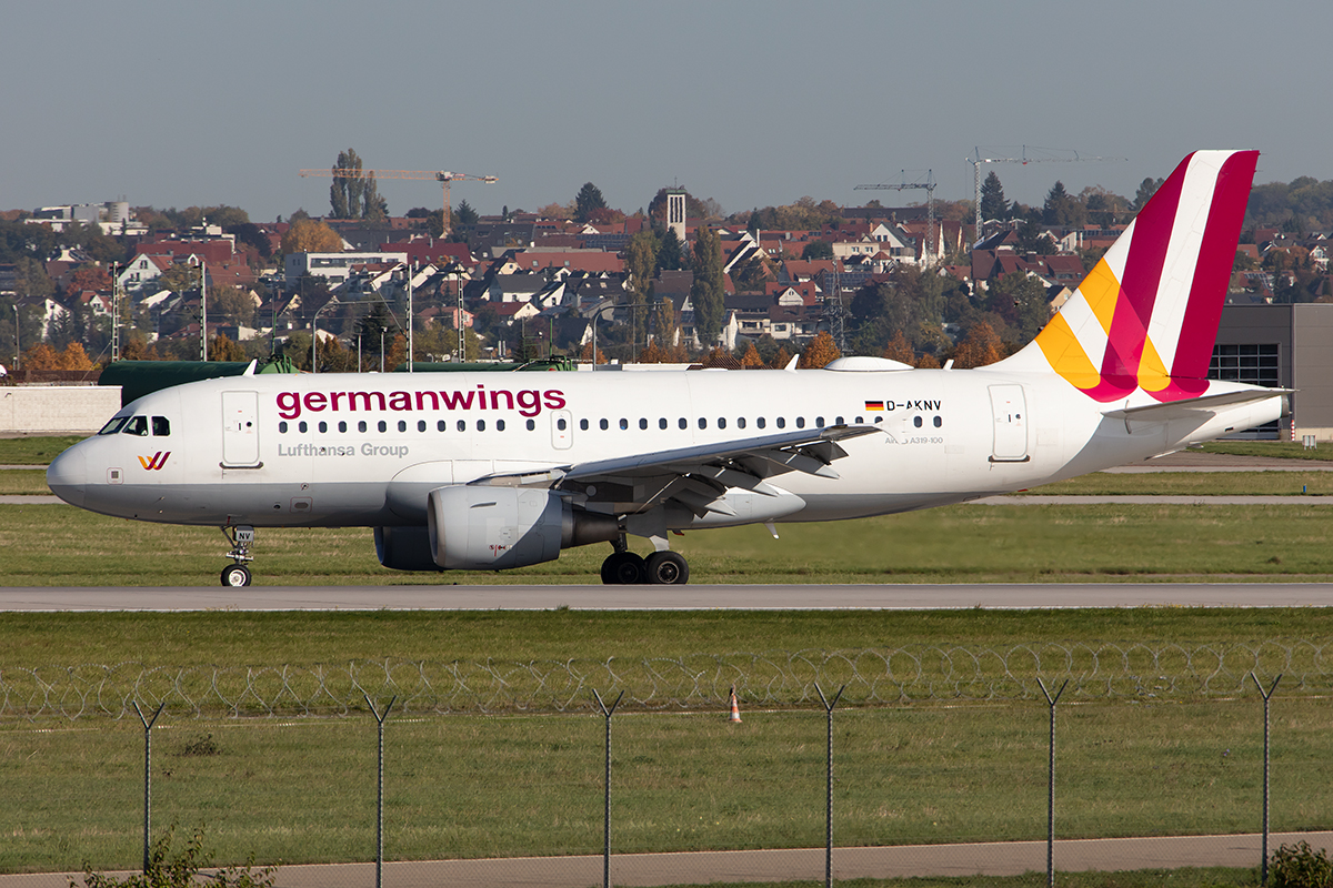 Germanwings, D-AKNV, Airbus, A319-112, 15.10.2019, STR, Stuttgart, Germany