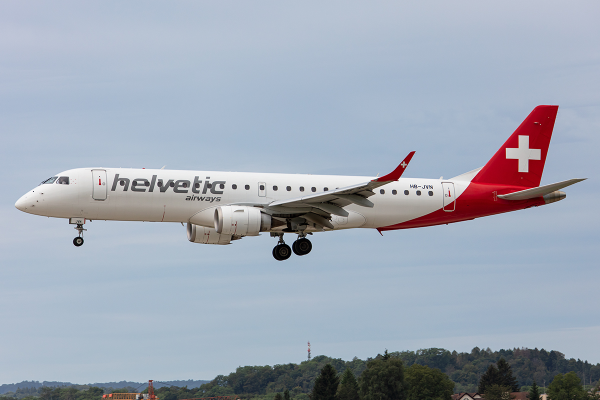 Helvetic Airways, HB-JVN, Embraer, 190LR, 17.08.2019, ZRH, Zürich, Switzerland