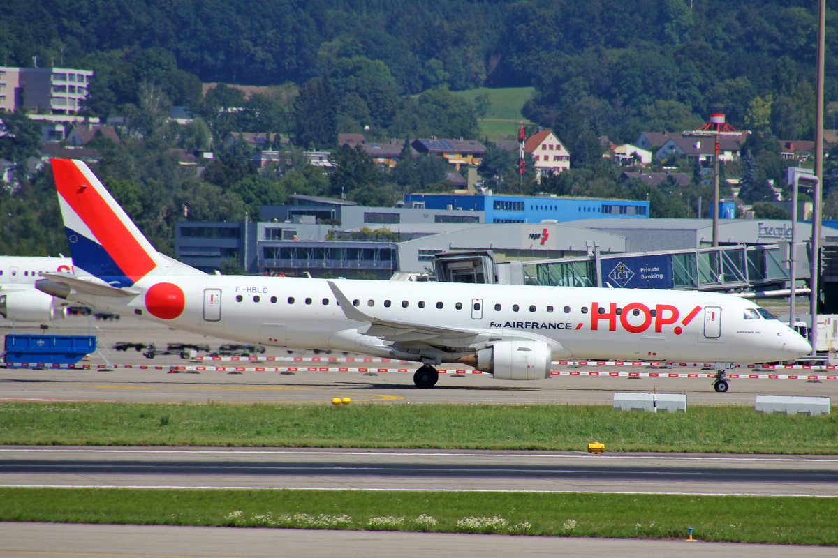 HOP!, F-HBLC, Embraer Emb-190LR, msn: 19000080, 18.August 2019, ZRH Zürich, Switzerland.