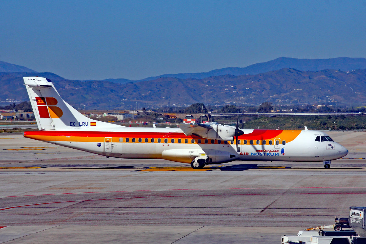 Iberia Regional (Operated by Air Nostrum), EC-LRU, ATR 72-600, msn: 1032, 03.Februar 2019, AGP Málaga-Costa del Sol, Spain.