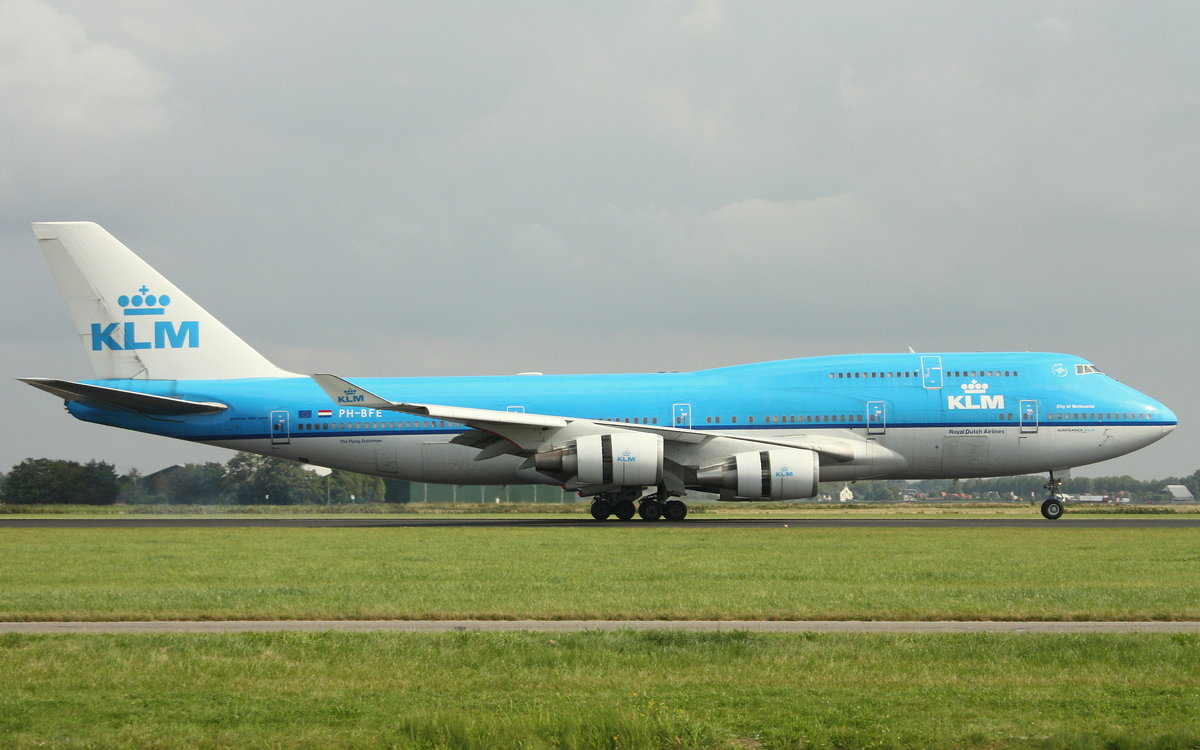 KLM, PH-BFE, (c/n 24201),Boeing 747-406,03.09.2016, AMS-EHAM, Amsterdam-Schiphol, Niederlande (Named: City of Melbourne)