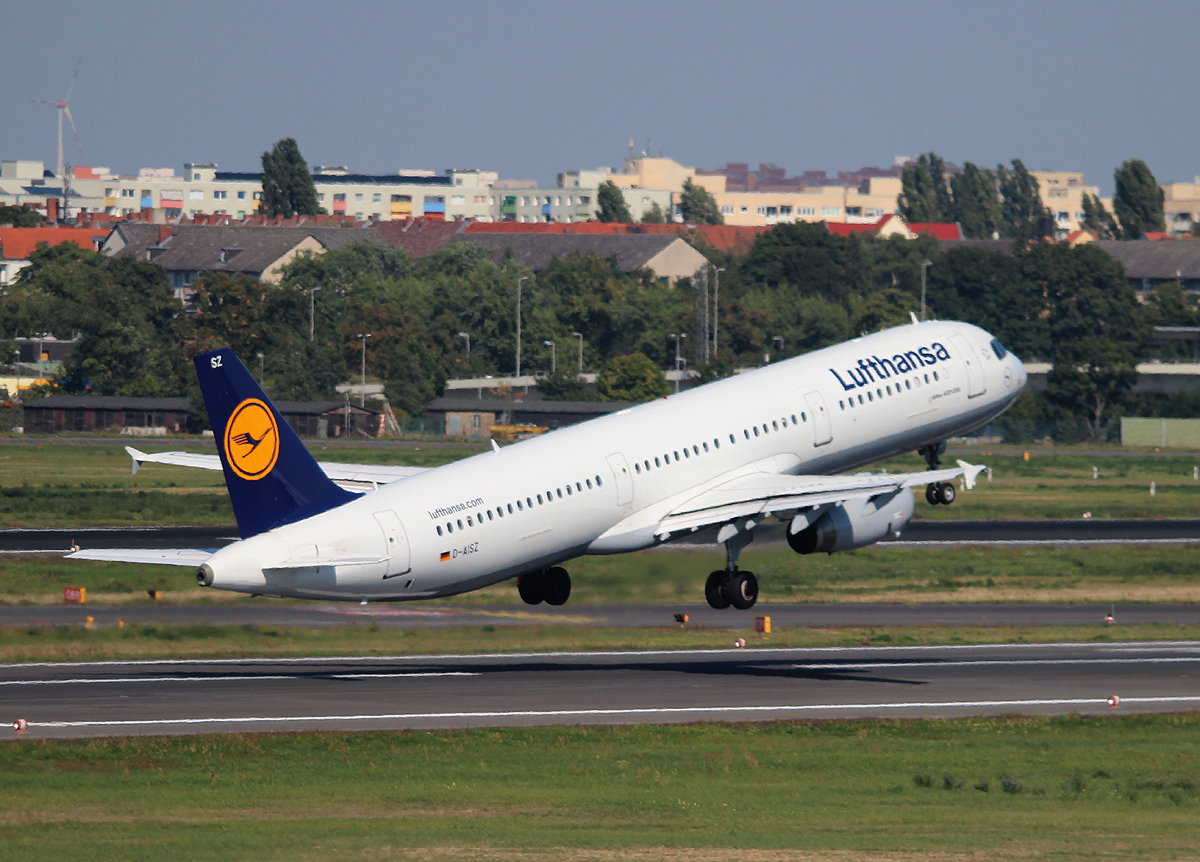 Lufthansa A 321-231 D-AISZ beim Start in Berlin-Tegel am 06.09.2013