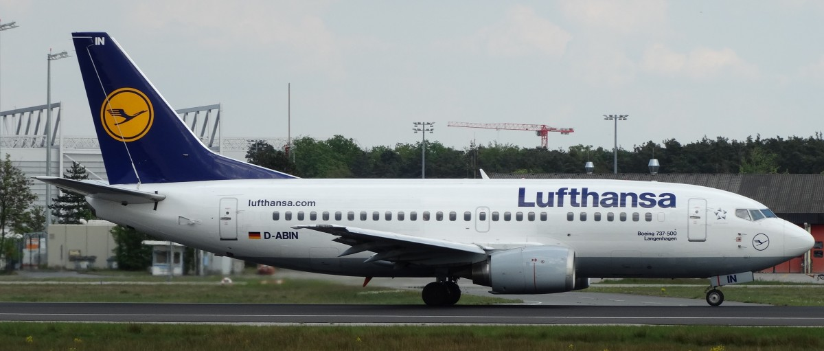 Lufthansa Boeing 737-500 (D-ABIN) startet am 24.04.14 in Frankfurt am Main