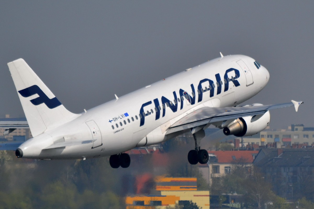 OH-LVI Finnair Airbus A319-112  in Tegel am 03.04.2014 gestartet