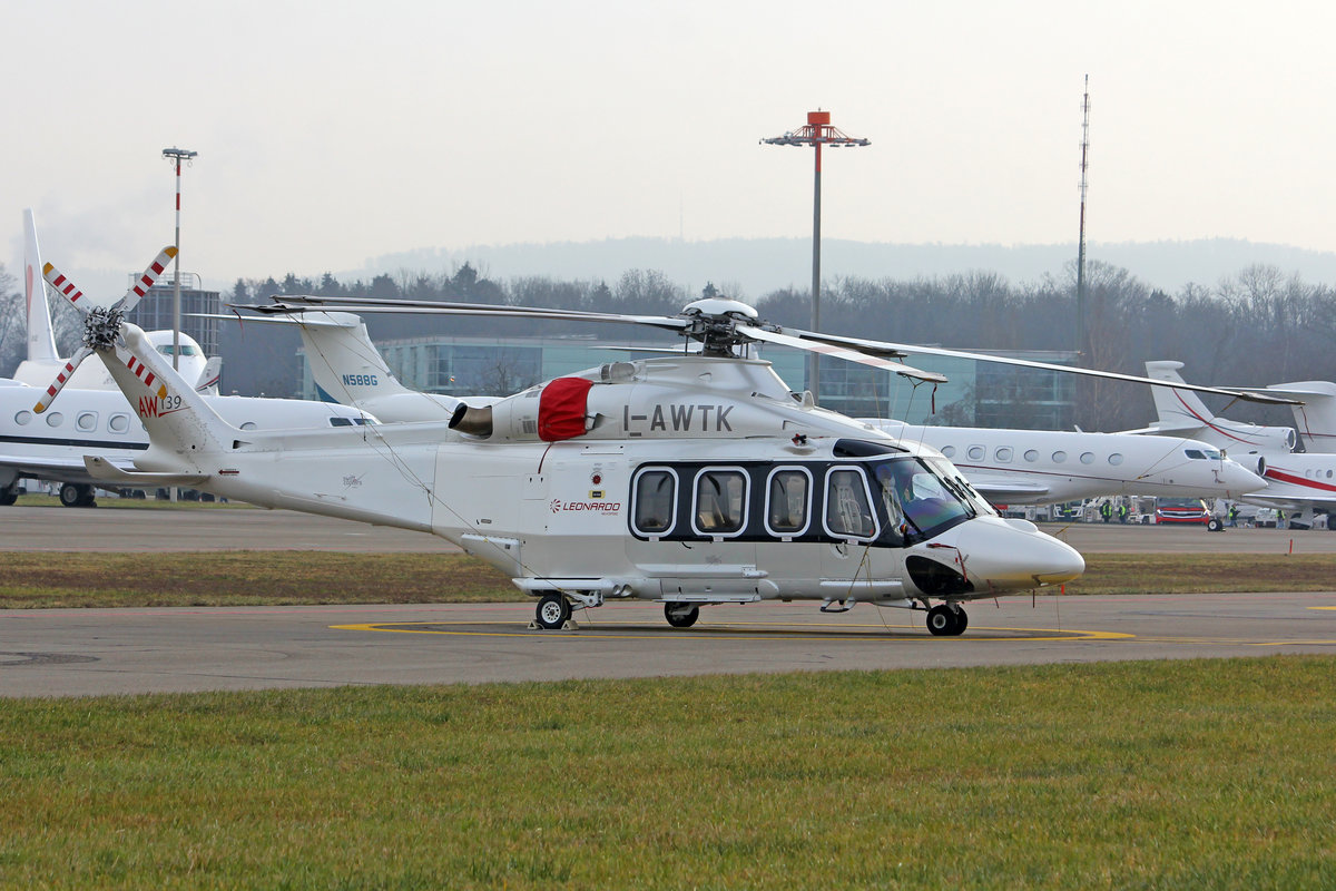 Private, I-AWTK, AgustaWestland AW-139, msn: 31353, 23.Januar 2019, ZRH Zürich, Switzerland.