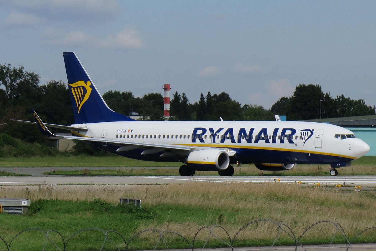 Ryanair (FR-RYR), EI-FIK, Boeing, 737-8AS wl (Gdansk - City of freedom-Sticker), 29.08.2017, FMM-EDJA, Memmingen, Germany