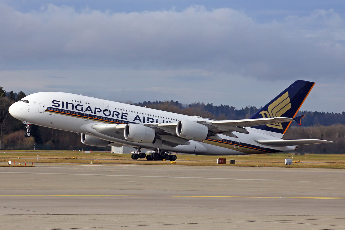 Singapore Airlines, 9V-SKV, Airbus A380-841, msn: 247, 01.Februar 2020, ZRH Zürich, Switzerland.