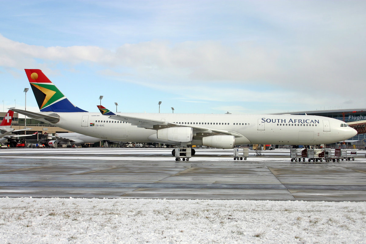 South African Airways, ZS-SXC, Airbus A340-313X, msn: 590, 24.Januar 2005, ZRH Zürich, Switzerland.