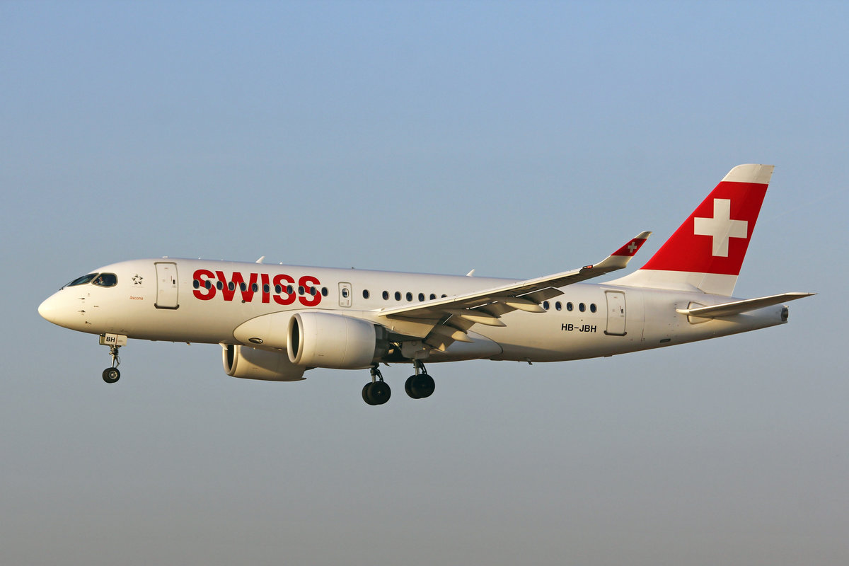 SWISS International Air Lines, HB-JBH, Bombardier CS-100, msn: 50017,  Ascona , 21.Februar 2019, ZRH Zürich, Switzerland.