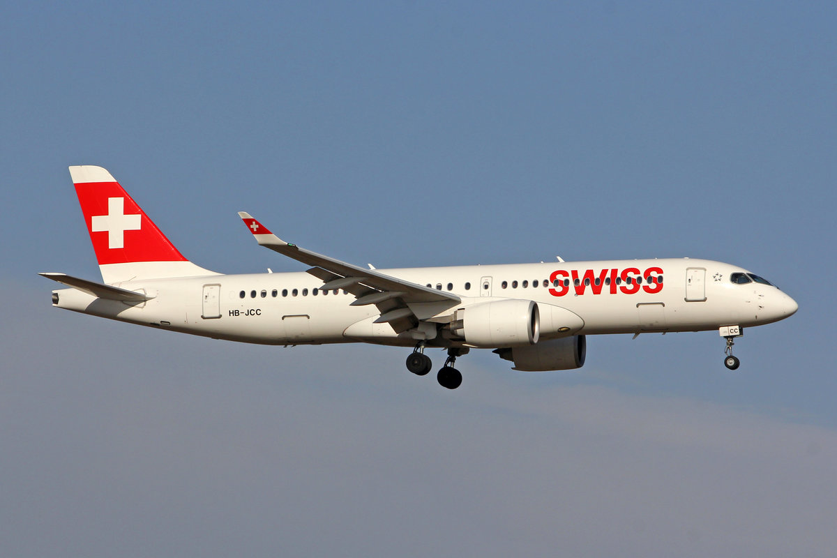 SWISS International Air Lines, HB-JCC, Bombardier CS-300, msn: 55012, 21.Februar 2019, ZRH Zürich, Switzerland.