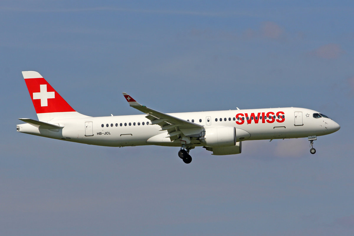 SWISS International Air Lines, HB-JCL, Bombardier CS-300, msn: 55029, 15.Juni 2018, ZRH Zürich, Switzerland.