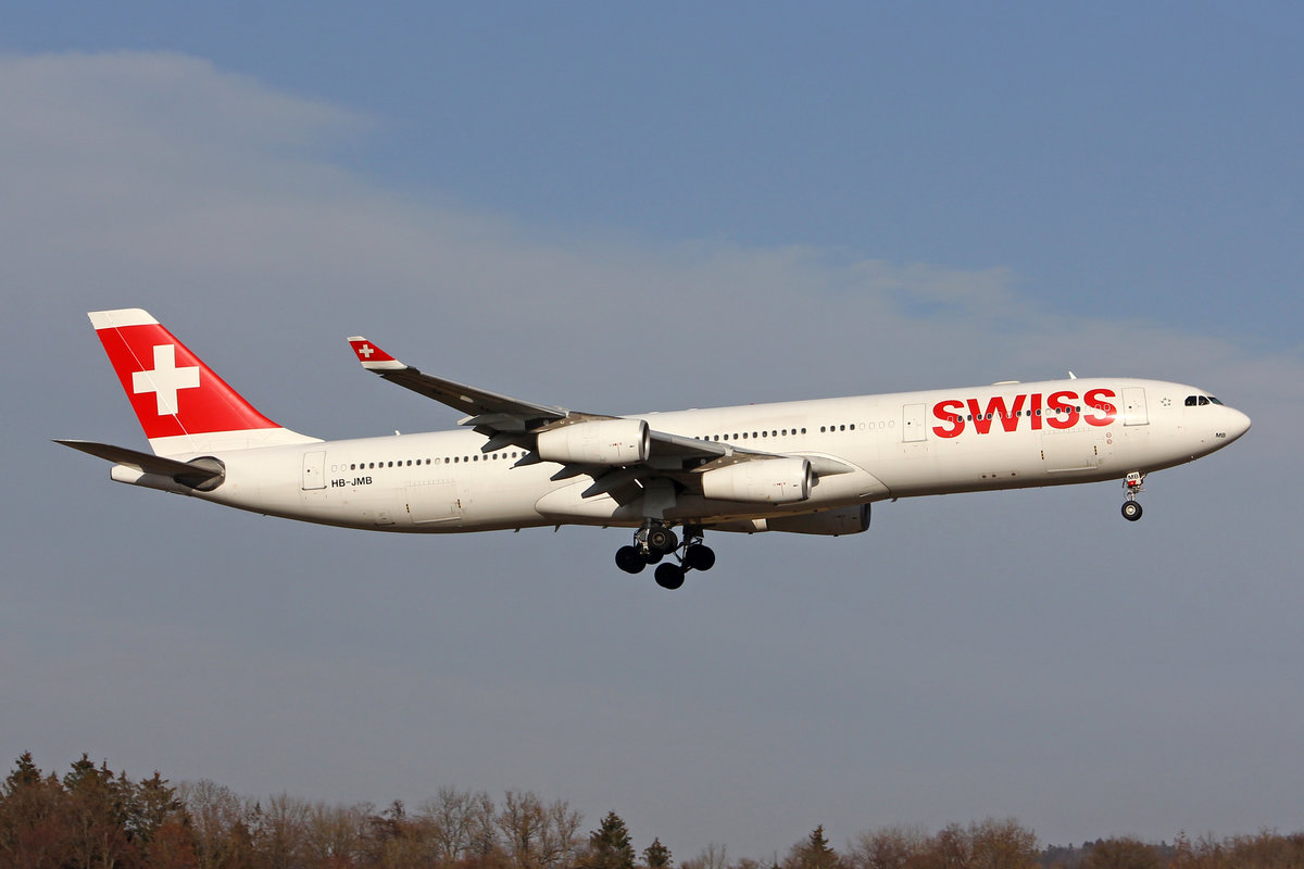 SWISS International Air Lines, HB-JMB, Airbus A340-313X, msn: 545,  Zürich , 21.Februar 2019, ZRH Zürich, Switzerland.