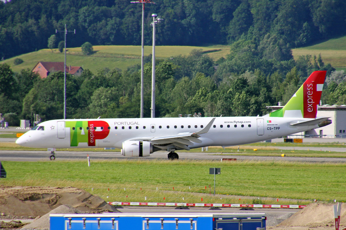 TAP Express (Operated by PGA Portugalia Airlines), CS-TPP, Embraer Emb-190LR,  Viseu , 16.Juni 2017, ZRH Zürich, Switzerland.