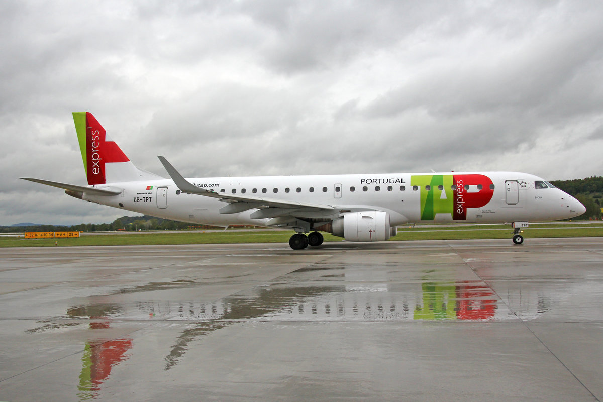 TAP Express (Operated by Portugalia Airlines), CS-TPT, Embraer Emb-190LR,  Évora , 1.Mai 2017, ZRH Zürich, Switzerland.